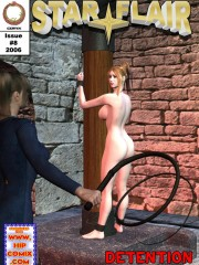 A witch attached to a pole and fuck